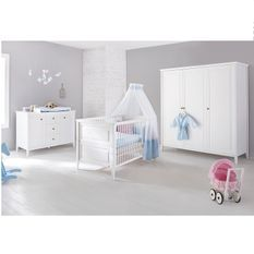 Chambre bébé 3 pièces large pin massif blanc Smilla 70x140 cm