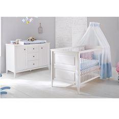 Chambre bébé 2 pièces large pin massif blanc Smilla 70x140 cm