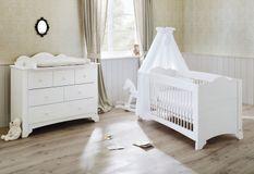 Chambre bébé 2 pièces pin massif blanc Pino 70x140 cm