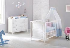 Chambre bébé 2 pièces pin massif blanc Smilla 70x140 cm