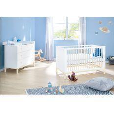 Chambre bébé 2 pièces pin massif lasuré blanc Skadi 70x140 cm