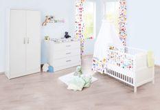 Chambre bébé 3 pièces bois blanc Viktoria 70x140 cùm