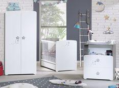 Chambre bébé 3 pièces bois laqué blanc et chêne silex New Nao 60