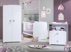 Chambre bébé 3 pièces bois laqué blanc et chêne silex New Nao 70