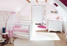 Chambre bébé 3 pièces bois laqué blanc Fleur