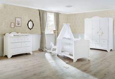 Chambre bébé 3 pièces pin massif blanc Pino 70x140 cm