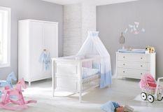 Chambre bébé 3 pièces pin massif blanc Smilla 70x140 cm