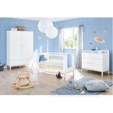 Chambre bébé 3 pièces pin massif lasuré blanc Skadi 70x140 cm