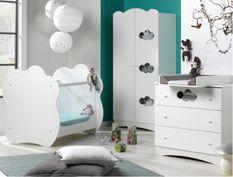 Chambre bébé Altéa lit 60x120 cm commode et armoire bois blanc