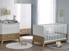 Chambre bébé Archipel lit évolutif 70x140 cm commode et armoire blanc et chêne
