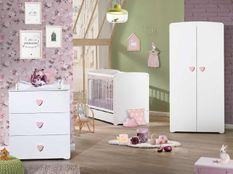 Chambre bébé Basic lit 60x120 cm armoire et commode à langer laqué blanc et rose
