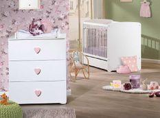 Chambre bébé Basic lit 60x120 cm et commode à langer laqué blanc et rose