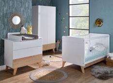 Chambre bébé Equilibre lit évolutif 70x140 cm commode et armoire blanc et pin