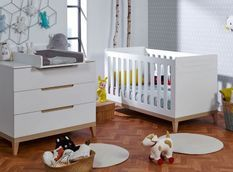 Chambre bébé Evidence lit évolutif 70x140 cm et commode à langer blanc et hêtre