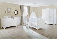 Chambre bébé extra large 3 pièces pin massif blanc Pino 70x140 cm