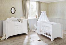 Chambre bébé large 2 pièces pin massif blanc Pino 70x140 cm
