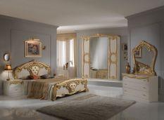 Chambre complète 6 pièces bois brillant beige et doré Crissie 160