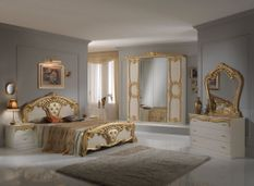 Chambre complète 6 pièces bois brillant beige et doré Crissie 180