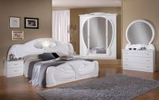 Chambre complète 6 pièces bois brillant blanc Proud 160