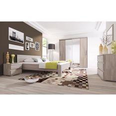 Chambre complete Lit 160x200+ tete de lit + 2 chevets + 1 commode - Décor Chene Clair Grisé - LISBONNE