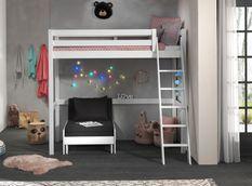 Chambre enfant 2 pièces lit et fauteuil transformable pin massif blanc Pino 90x200 cm