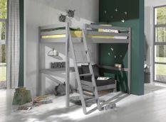 Chambre enfant 2 pièces lit et fauteuil transformable pin massif gris Pino 140x200 cm