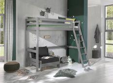 Chambre enfant 2 pièces lit et fauteuil transformable pin massif gris Pino 90x200 cm