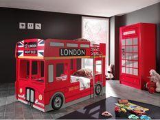 Chambre enfant 2 pièces lit superposé bus 90x200 cm et armoire bois laqué rouge Londres
