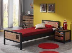 Chambre enfant 2 pièces pin massif foncé et noir 90x200 cm Alex