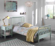 Chambre enfant 2 pièces pin massif laqué vert Alissa 90x200 cm