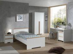 Chambre enfant 3 pièces lit chevet et armoire 2 portes bois hêtre blanc mat London 90x200 cm