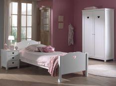 Chambre enfant 3 pièces lit chevet et armoire 2 portes bois laqué blanc Cœur 90x200 cm