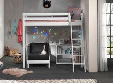 Chambre enfant 3 pièces lit fauteuil et bibliothèque pin massif blanc Pino 90x200 cm