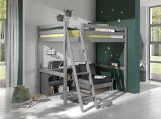 Chambre enfant 3 pièces lit fauteuil et bibliothèque pin massif gris Pino 140x200 cm
