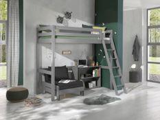 Chambre enfant 3 pièces lit fauteuil et bibliothèque pin massif gris Pino 90x200 cm