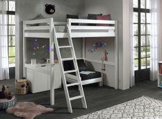 Chambre enfant 3 pièces lit fauteuil et commode 2 portes pin massif blanc Pino 900x200 cm