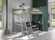 Chambre enfant 3 pièces lit fauteuil et commode 2 portes pin massif gris Pino 140x200 cm