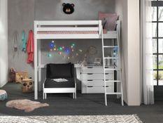Chambre enfant 3 pièces lit fauteuil et commode 4 tiroirs pin massif blanc Pino 90x200 cm