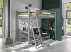Chambre enfant 3 pièces lit fauteuil et commode 4 tiroirs pin massif gris Pino 140x200 cm