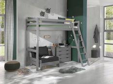Chambre enfant 3 pièces lit fauteuil et commode 4 tiroirs pin massif gris Pino 90x200 cm