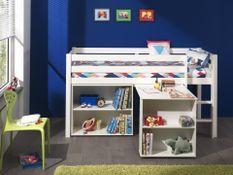Chambre enfant 3 pièces lit bureau et bibliothèque pin massif blanc Pino 90x200 cm