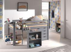 Chambre enfant 4 pièces lit bureau étagère et commode 4 tiroirs pin massif gris Pino 90x200 cm