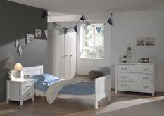 Chambre enfant 4 pièces lit chevet commode et armoire 3 portes bois laqué blanc Lewis 90x200 cm