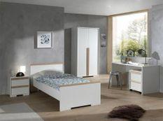 Chambre enfant 4 pièces lit gigogne chevet et armoire 2 portes bois hêtre blanc mat London 90x200 cm