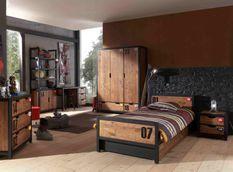 Chambre enfant 4 pièces lit gigogne chevet et armoire 3 portes pin massif foncé et noir Alex 90x200 cm