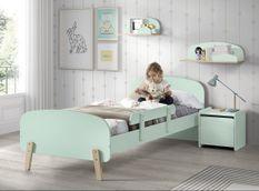 Chambre enfant 4 pièces lit rambarde chevet et coffre bois laqué vert et pin clair Kiddy 90x200 cm