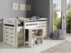 Chambre enfant 5 pièces lit bureau 2 commodes et étagère pin massif blanc Pino 90x200 cm