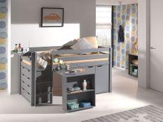 Chambre enfant 5 pièces lit bureau 2 commodes et étagère pin massif gris Pino 90x200 cm