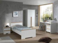 Chambre enfant 5 pièces lit chevet bureau caisson et armoire 2 portes bois hêtre blanc mat London 90x200 cm