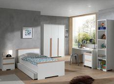 Chambre enfant 5 pièces lit chevet bureau caisson et armoire 3 portes bois hêtre blanc mat London 90x200 cm